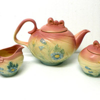 Tea Pot- Art Deco Pottery- Hull Art USA- Kitschy Kitchen- Full Set- Pink Collectibles- Kitchen Gourmet- Bows- Blue Flowers