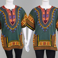 Vintage 70s Hippy Mens Dashiki West African Shirt Ethnic Top Angel Sleeve Festival Shirt Cotton Shirt Caftan Top Mens Hippie Clothing 1970s