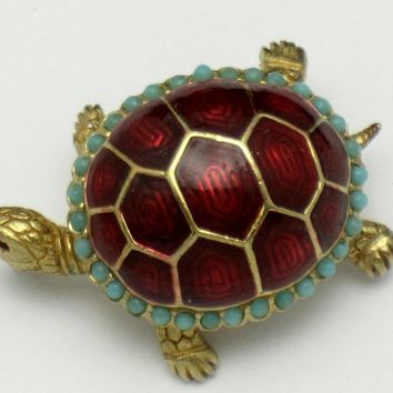 Adorable CINER Turtle Brooch Metallic Enamel Faux Turquoise Figural Pin