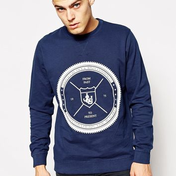 Jack & Jones Pique Sweatshirt With Nautical Print