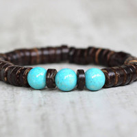Coconut bracelet mens ethnic bracelet brown hippie bracelet beaded tribal everyday bracelet for men gift for father beach bracelet natural