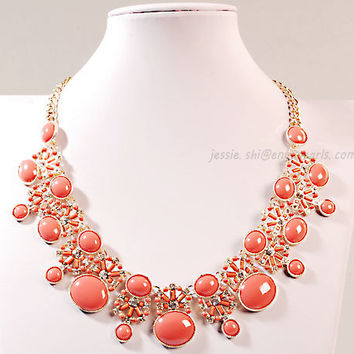Orange Bib Necklace, Orange  Bubble Necklace,Statement Necklace (FN0637-Orange)