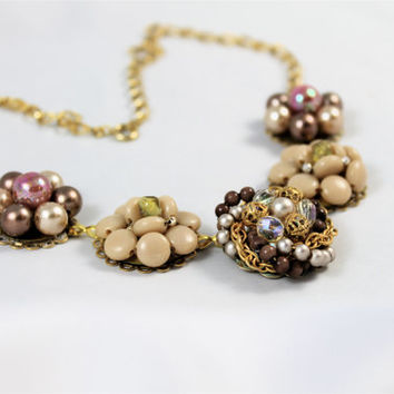 Vintage earring necklace taupe tan rose gold beaded clusters bridesmaid retro 50's 60's heirloom Great Gatsby repurposed up-cycled chunky
