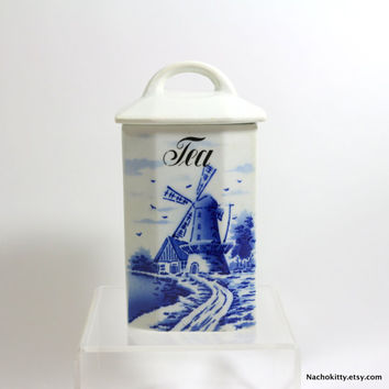 1900s Tea Canister, Antique German Blue & White Vintage Kitchen Decor