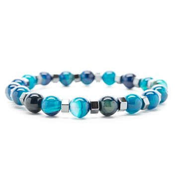 Blue Jasper Gemstones Beaded Bracelet for Men and Women