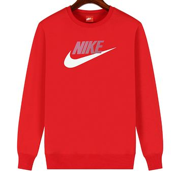 NIKE 2019 new cotton men and women models wild sets of round neck long-sleeved sweater red