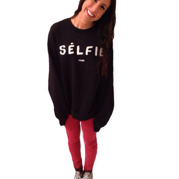 Selfie crewneck mocking celine paris sweatshirt and popular tshirt, unisex crewneck noodie, womens clothing mens cute comfortable style