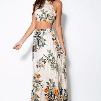 Stylish Print Camisole High Rise Skirt Prom Dress Set [5013176132]