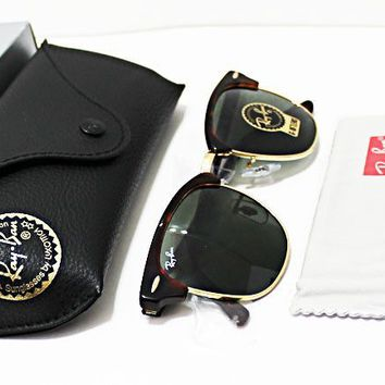 100% AUTHENTIC RAY-BAN CLUBMASTER MEN'S Tortoise G-15 Lens 51-21-145 Sunglasses