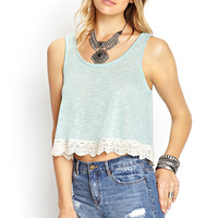 FOREVER 21 Soft Stripe Crochet Tank Mint/Cream Large