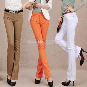 2017 spring and autumn new candy-colored micro speaker thin waist jeans female colored trousers Slim hip stretch pants clothing