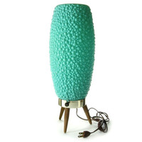 Mid Century Lamp / Turquoise Teal Green / Danish Modern Atomic Tripod Lighting / Bubble Beehive Lamp