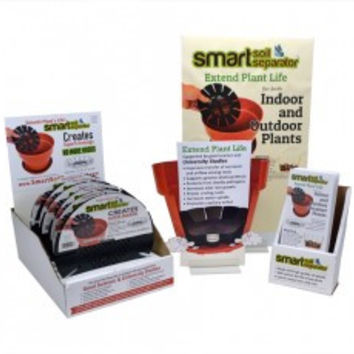 "12 Pack of Smart Soil Separators 5""-7.5"" with POS materials, display box and 12 pieces of informational flyer with display stand"