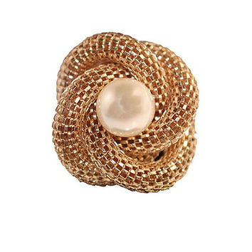 Gold Mesh Ring, Pearl Ring, Knot Ring, Gold Ring, Adjustable Size