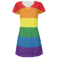 Rainbow Gay Pride Flag All Over Juniors V-Neck Dress