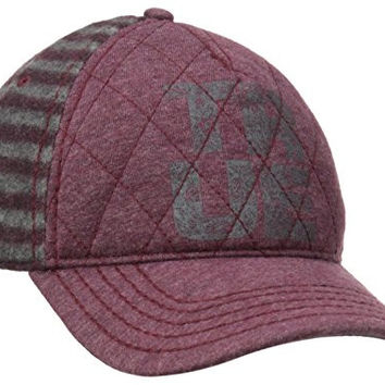 True Religion Men's Heathered Flannel Baseball Cap, Ox Blood, One Size