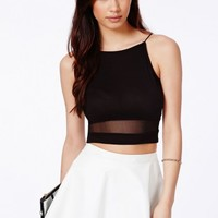 Missguided - Pavelca Black Spaghetti Strap Crop Top With Mesh Panel