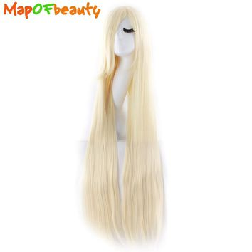 MapofBeauty long straight light Blonde Cosplay Wigs Ladies 40inch/100cm High Temperature Fiber Heat Resistant Synthetic hair