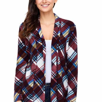 Purple Suede Elbow Patch Long Sleeve Plaid Cardigan