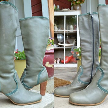 Vintage Tall Dark Green Designer Stacked Heel Western Boots, 11