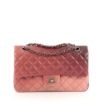 Chanel Pre-Owned: Classic Double Flap Bag Ombre Quilted Lambskin Medium | Bluefly.Com