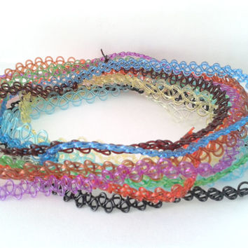 90's Stretchy Tattoo Choker Necklace With Your Choice Of Colour + Charm