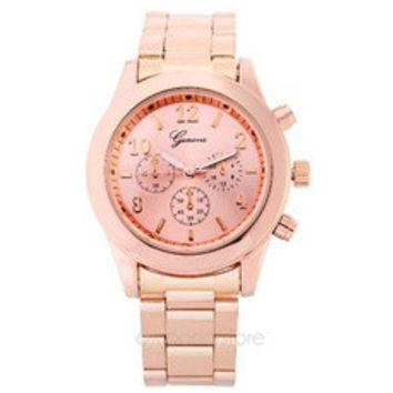 Luxury Stainless Steel Belt Sport Business Quartz Watch Women Men Rose Gold color Wristwatches [8321409671]