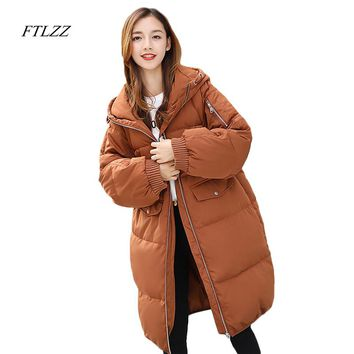 Ftlzz New Winter White Duck Down Jacket Loose Solid Color Hooded Puffer Jackets Medium Long Plus Size Warm Female Down Coats