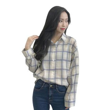 Blouse female Korean Summer casual wild loose thin long-sleeved shirt lapel single-breasted plaid shirt Plus Size vadim Clothes