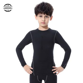 2018 Kid Sport Shirt Long Sleeve T- Shirts Black Fitness Gym Base Layer Tops Children Gym Yoga Running Compression shirt Kids