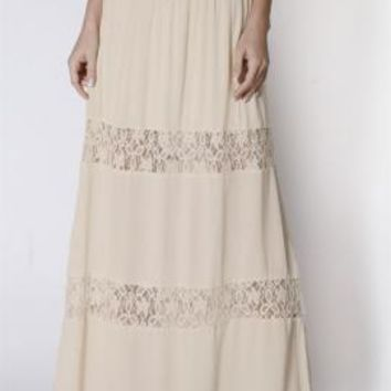 Paradise Dreams Lace Paneled Gauze Maxi Skirt in Ivory | Sincerely Sweet Boutique