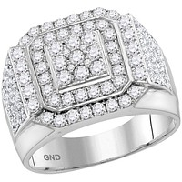 10kt White Gold Womens Round Diamond Double Frame Square Cluster Ring 2/2 Cttw 115270