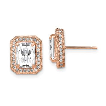 10K Rose Gold Tiara Collection Rose Gold Polished CZ Earrings