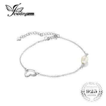 JewelryPalace Fashion 925 Sterling Silver 7-9mm Freshwater Cultured Pearl Heart Foot Chain Anklet 2016  Fine Jewelry For Women