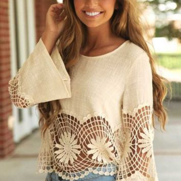 Cut Out Lace Trumpet-Sleeve Loose Shirt