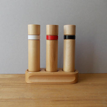 Salt and Pepper Shaker set / Vintage Wooden Spice Shakers / Table decor made in USSR / Serving Kit