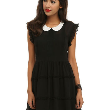Black & White Collar Chiffon Dress
