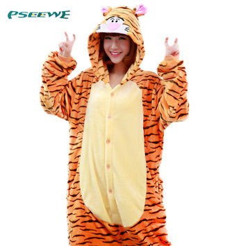 Tiger onsie Onesuit women tiger Adults Flannel Pyjama Animal Costumes Adult Cute Cartoon Animal Onesuits funny pajamas women