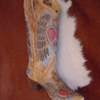 Corral Women's Heart Angel Wing Cowgirl Boot Snip Toe