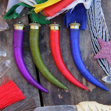 WILD & FREE: Large Tusk, Choose your Color Inlaid Bone, Brass, Himalayan Tribal, Western Bohemian Jewelry Making Supply, 1 large pendant 5""