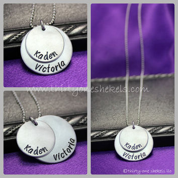 Two Layer Mother's Necklace, Personalized Mommy Necklace, Mom of Two, Two children's names