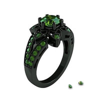 0.71ct GREEN Round  cut solitaire sterling silver wedding ring with free ship