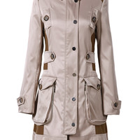 Khaki Long Sleeve Epaulet Pockets Trench Coat