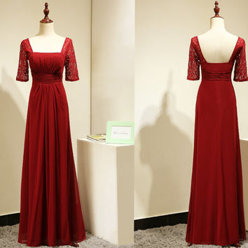 Bridesmaid Dress with Sleeves/Burgundy Bridesmaid Dress/Formal Evening Gown/Evening Gowns with Sleeves/Vintage Evening Gown/Lace Prom Dress