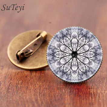 SUTEYI Meditation Buddhist Religion Brooch Mandala Art picture Brooches Glass cabochon Pins For Women Jewelry Bijoux Femme