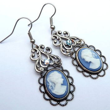 Antique earrings with cameos in blue silver earrings Rococo