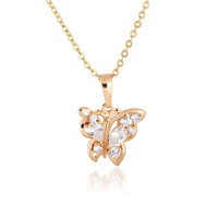 Kuniu 18K Gold Plated Butterfly Pendant Jewelry Austrian Crystal Necklace