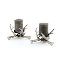 Crossed Antler Candle Holders