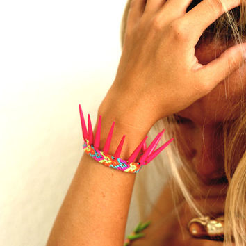 Hot Pink Spikes Friendship Bracelet.