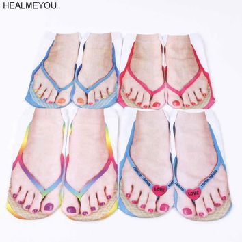 Style 3D Print Low Cut Ankle Socks Flip Flop Sock